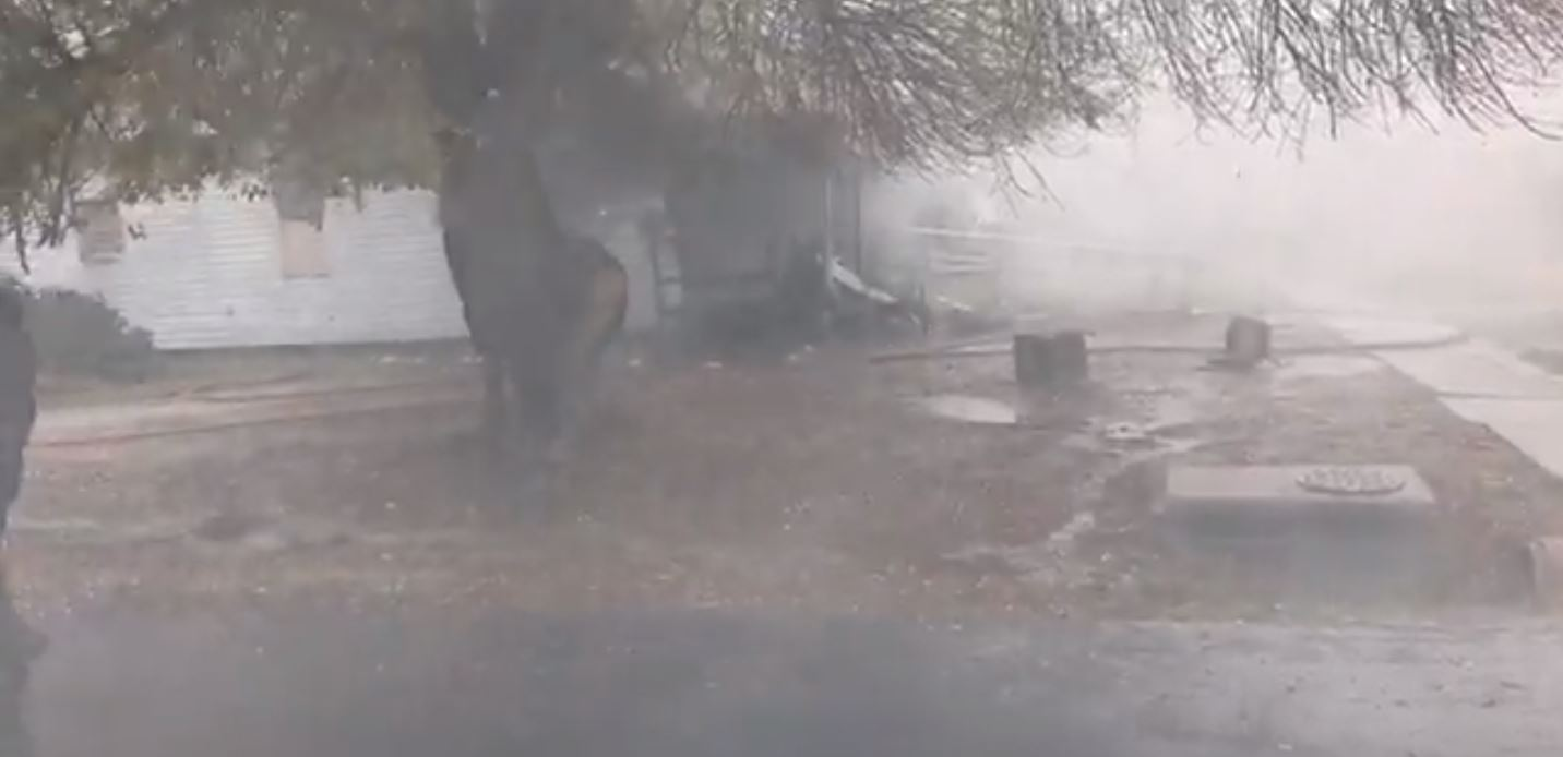 <p>A house caught fire in the 900 block of New Orleans Avenue in Port Arthur on Thursday morning. (Photos by Angel San Juan/KFDM &amp;amp; Fox 4)</p>