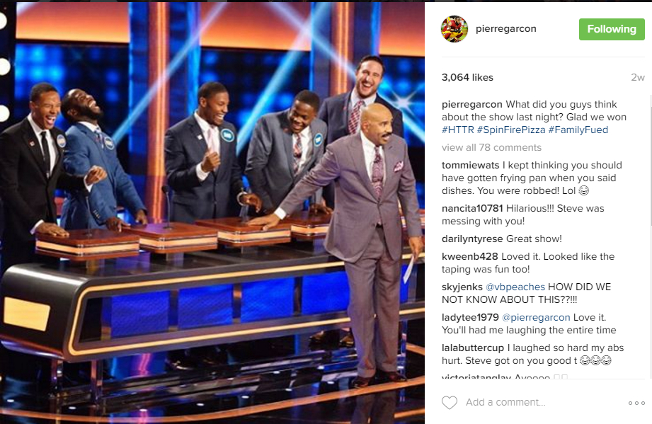 Fan favorite Pierre Garcon had both the audience and Steve Harvey in stitches after a recent appearance on Family Feud. (Image: @pierregarcon Instagram)