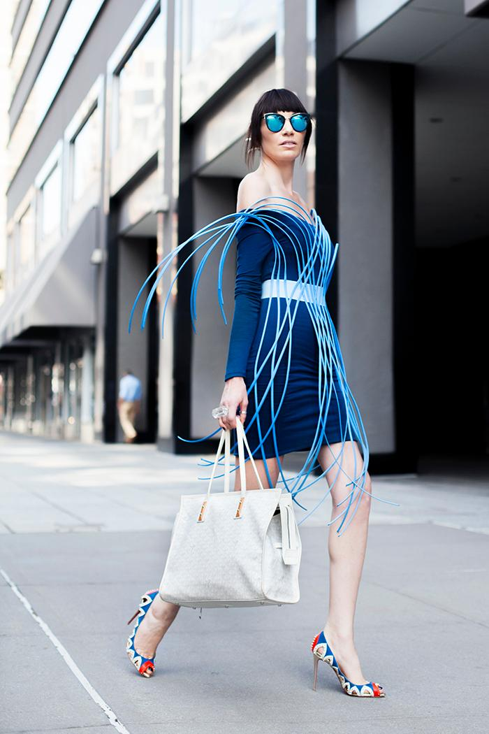 Wearing: Atelier Sylphe belt, Delacy Los Angeles Dress, Louboutin Heels, Goyard bag, Quay sunnies (Image: Courtesy Ashley Hafstead/Chicville USA)