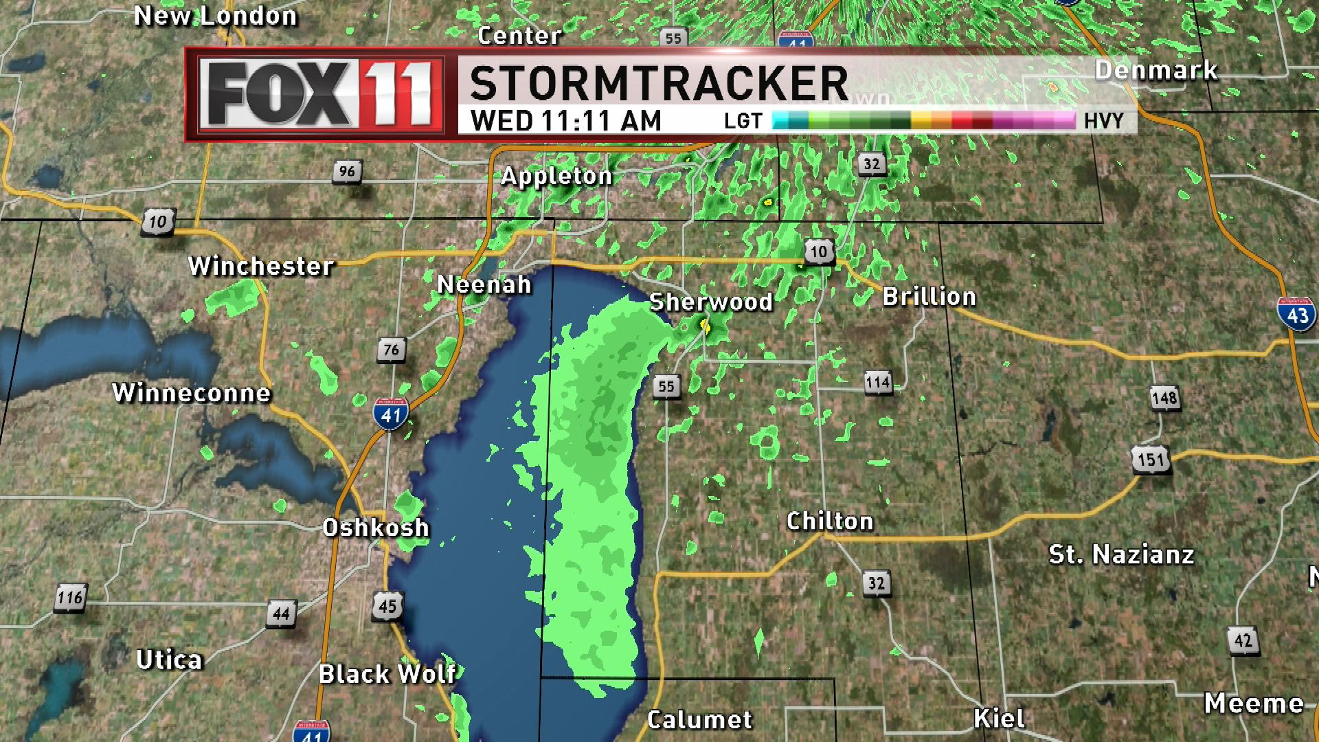 The annual lake fly hatch on the east side of Lake Winnebago is caught on FOX 11 weather radar May 16, 2018. (WLUK image)