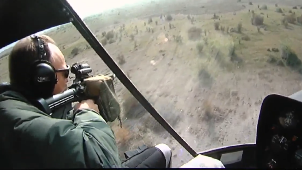 Injured hunter claims hog hunting helicopters flying through