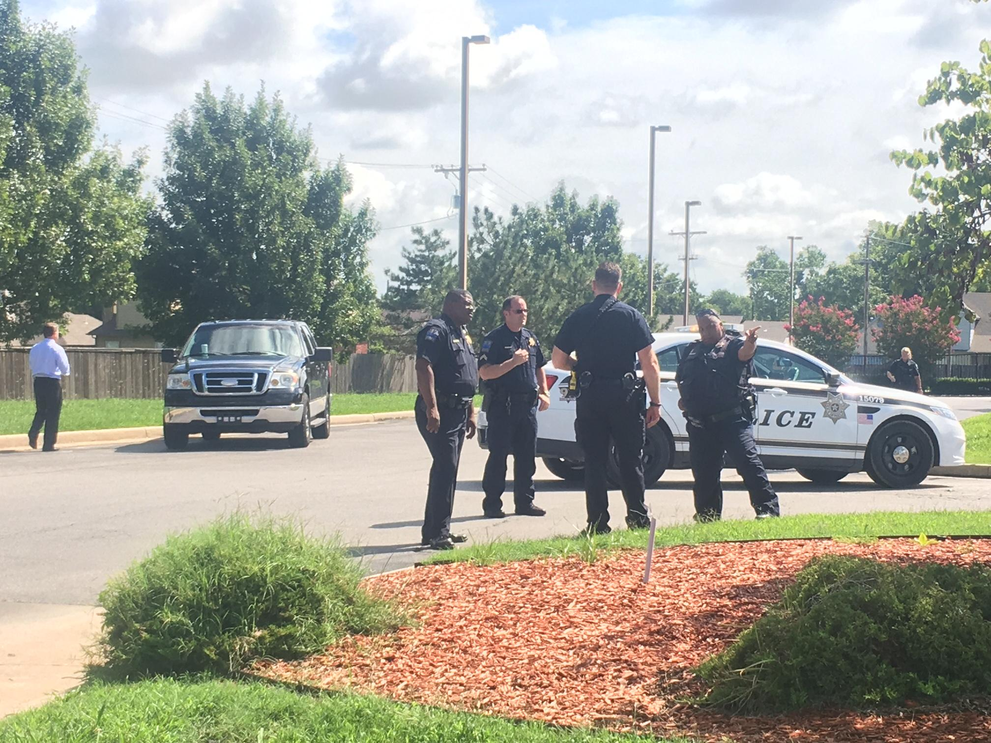 Officers responded to the Bank of America near M.L.K. Jr. Boulevard and Pine around 11 a.m. Thursday. (KTUL)