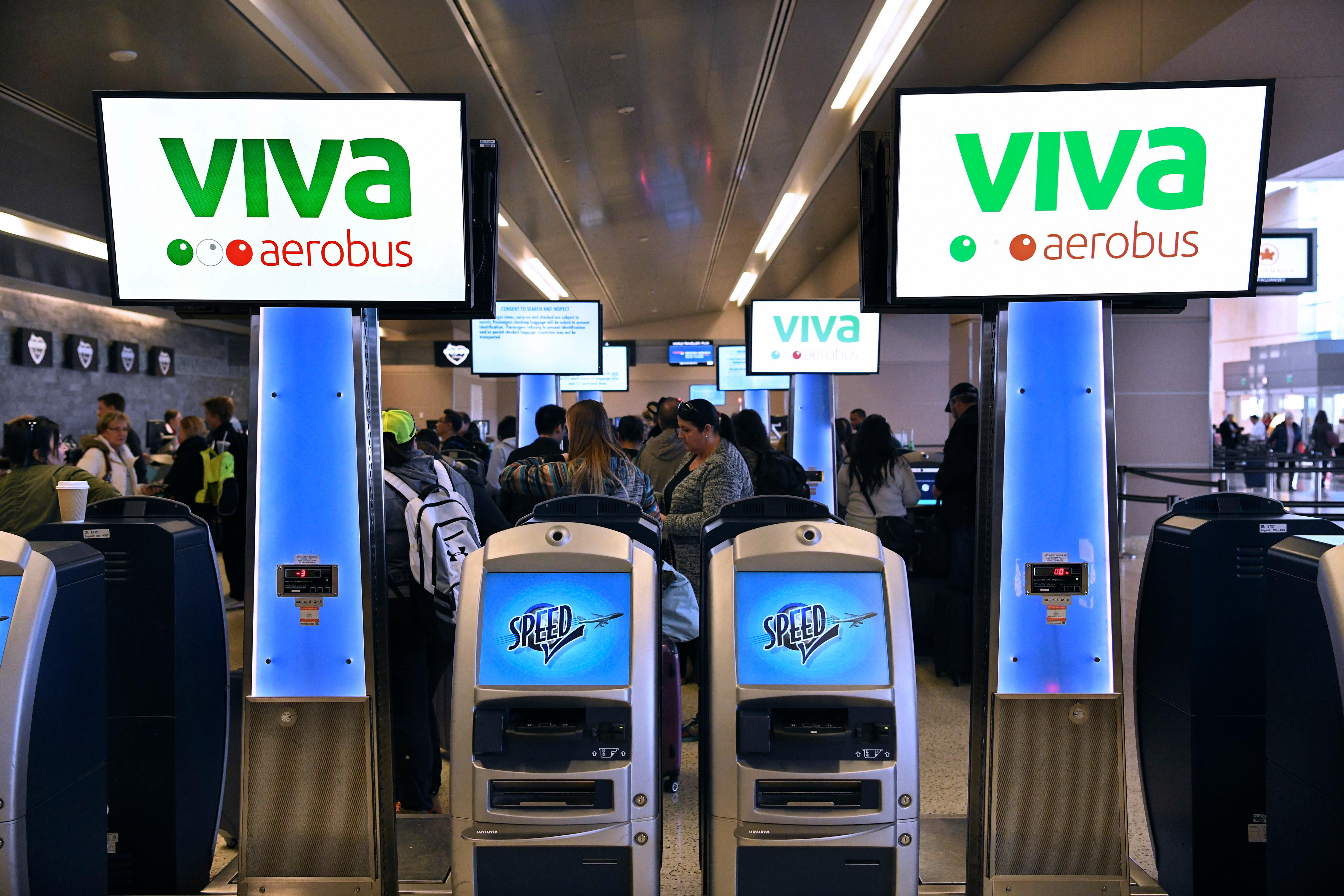 Viva Aerobus signage is seen during a news conference at McCarran International Airport to announce new Viva Aerobus service between Las Vegas and Mexico City  Friday, December 15, 2017. CREDIT: Sam Morris/Las Vegas News Bureau