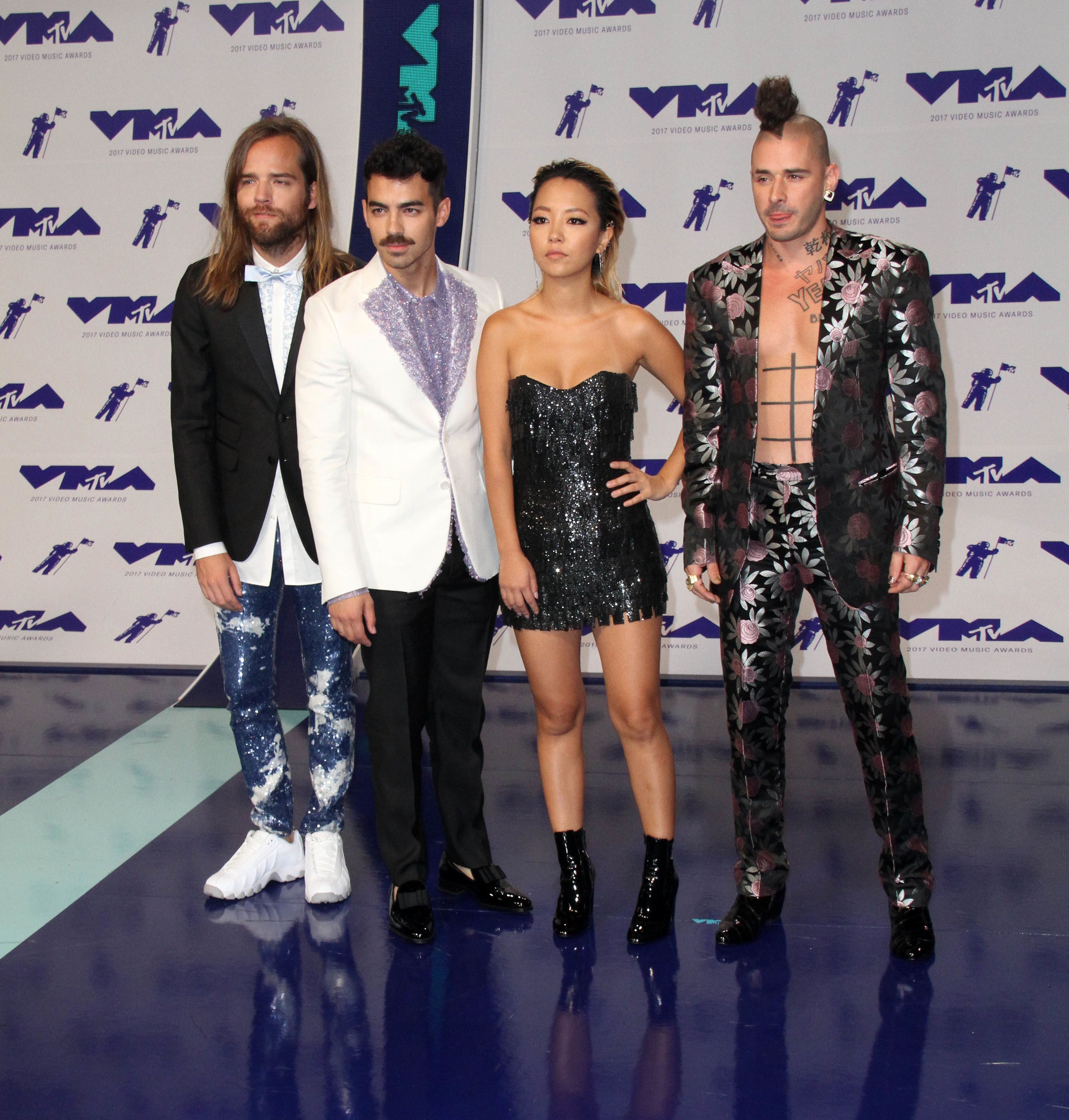 MTV Video Music Awards (VMA) 2017 Arrivals held at the Forum in Inglewood, California.  Featuring: Jack Lawless, Joe Jonas, JinJoo Lee, Cole Whittle of the band DNCE Where: Los Angeles, California, United States When: 26 Aug 2017 Credit: Adriana M. Barraza/WENN.com