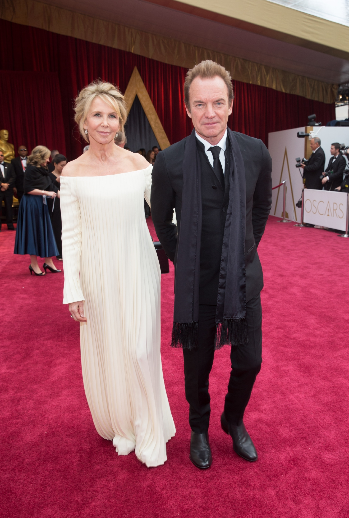 Oscars® nominee Sting and wife, Trudie Styler, arrive on the red carpet at The 89th Oscars® at the Dolby® Theatre in Hollywood, CA on Sunday, February 26, 2017. (©A.M.P.A.S.)