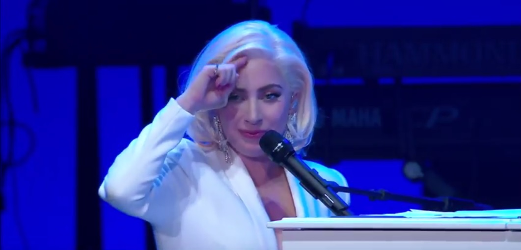 FILE: Screen shot of Lady Gaga performing at the One America Appeal hurricane relief concert on October 21, 2017. (Credit: One America Appeal/YouTube)