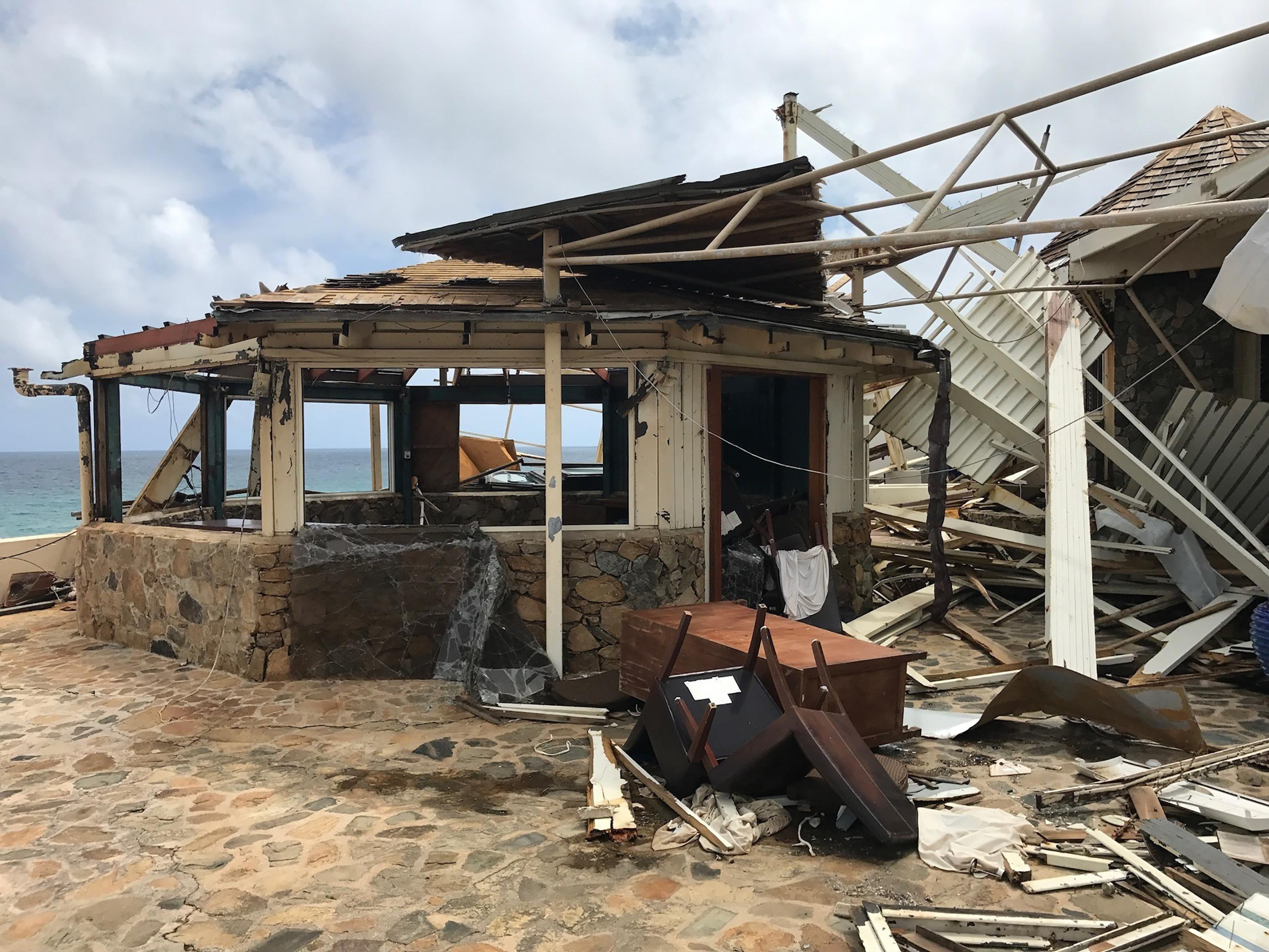 This Sept. 14, 2017 photo provided by Guillermo Houwer on Saturday, Sept. 16, shows storm damage to the Biras Creek Resort in the aftermath of Hurricane Irma on Virgin Gorda in the British Virgin Islands. (Guillermo Houwer via AP)