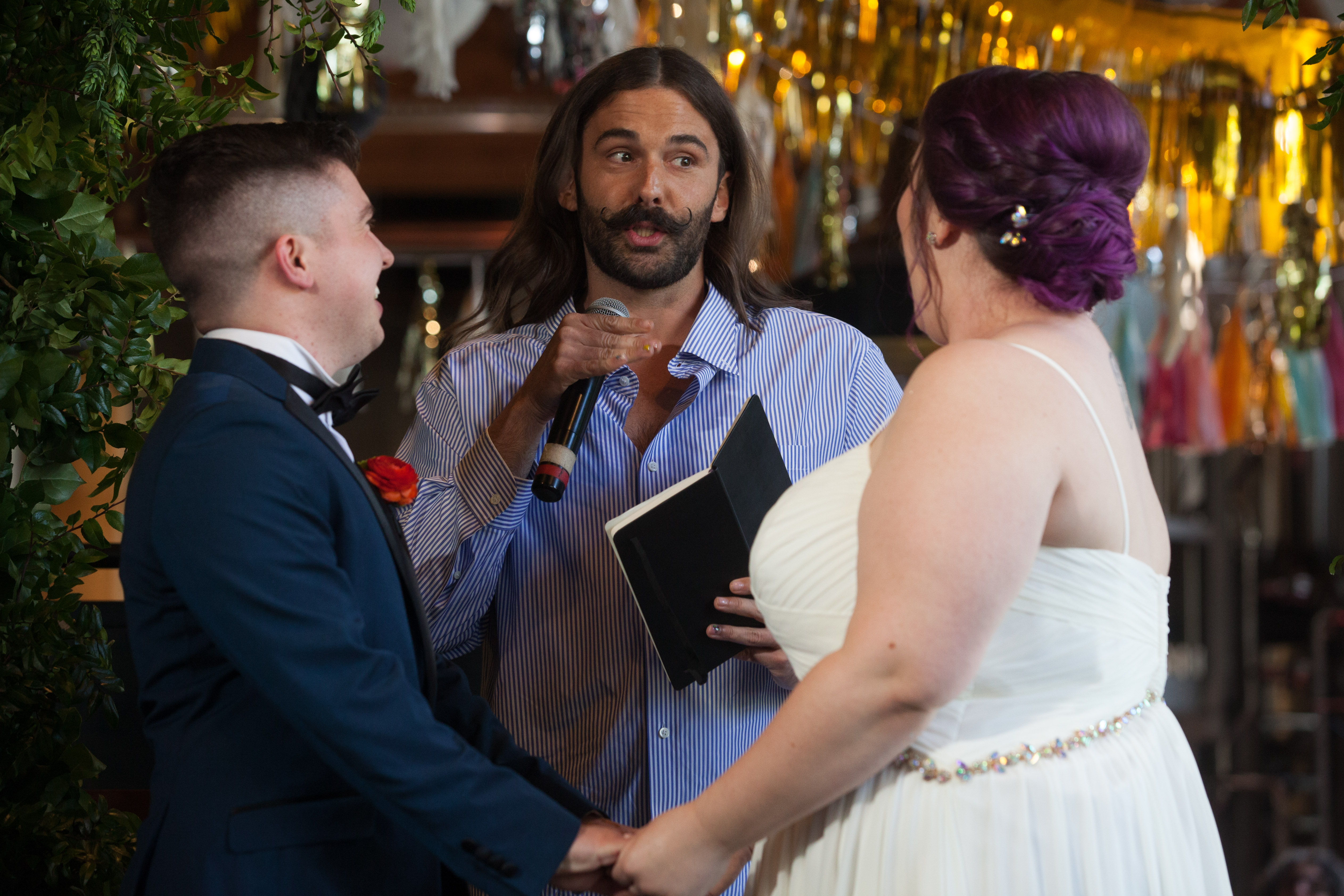 CAN YOU EVEN BELIEVE?! Jonathan Van Ness partners with Elysian Brewing to officiate Washington couple's wedding at Elysian's Capitol Hill brewpub in Seattle on June 4, 2019. This marks the first LGBTQ+ wedding Jonathan Van Ness officiated, continuing his commitment of championing marriage equality. (Photo by Matt Mills McKnight/Invision for Elysian Brewing/AP Images)