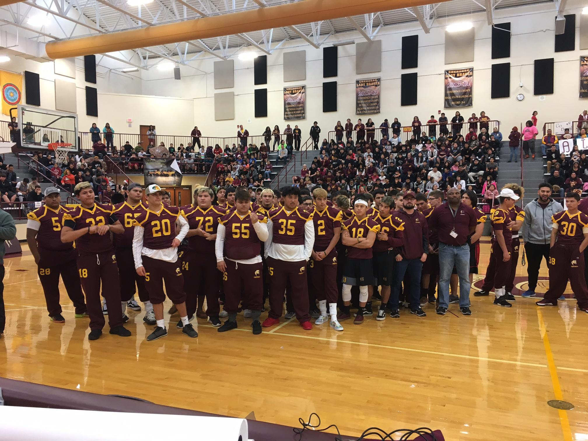 The Cherokee Braves football team heads to Raleigh on Saturday to play to play for the state 1A title. Thursday, the entire Cherokee schools complex turned out to show their support. (Photo credit: WLOS staff)