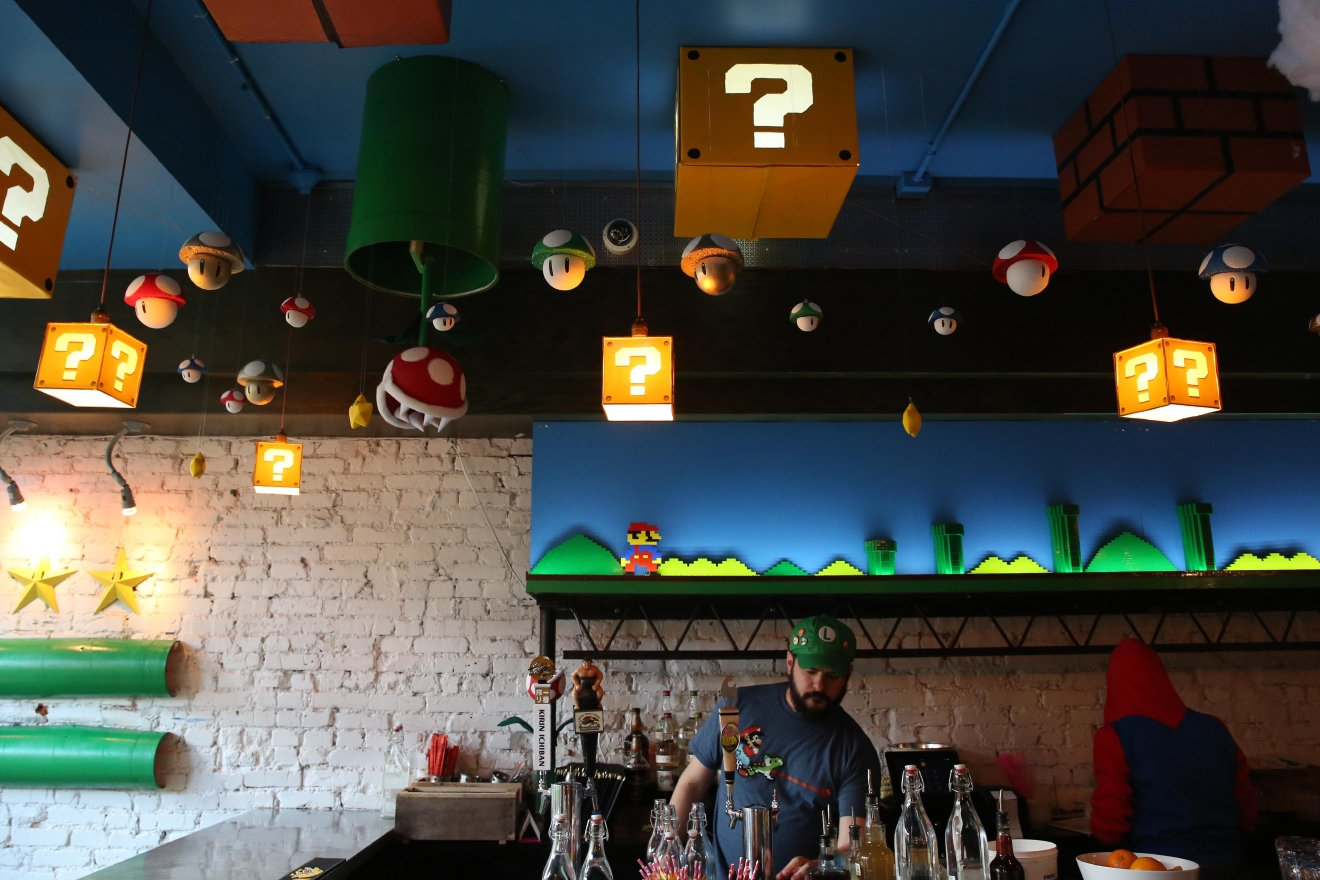 Whether you're a champ at Mario Kart or just think Yoshi is cute, the Mario Bros.-themed pop-up bar at Mockingbird Hill is a must-see. The bar is attached to the ultra-popular cherry blossom pop-up bar, but the themed drinks and video game music make Mockingbird Hill a perfect place to reminisce about a simpler time. (Amanda Andrade-Rhoades/DC Refined)