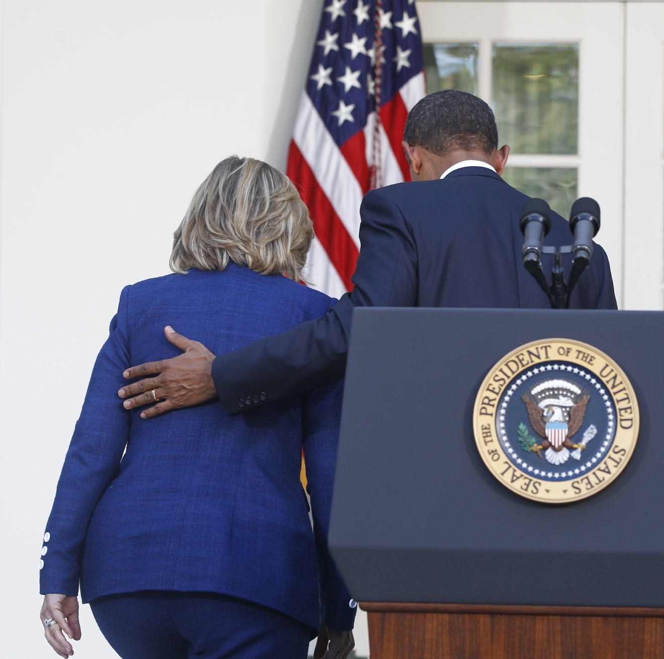 In this photo taken Sept. 1, 2010, President Barack Obama walks with then-Secretary of State Hillary Rodham Clinton after he made a statement in the Rose Garden of the White House in Washington. (AP Photo/Charles Dharapak)