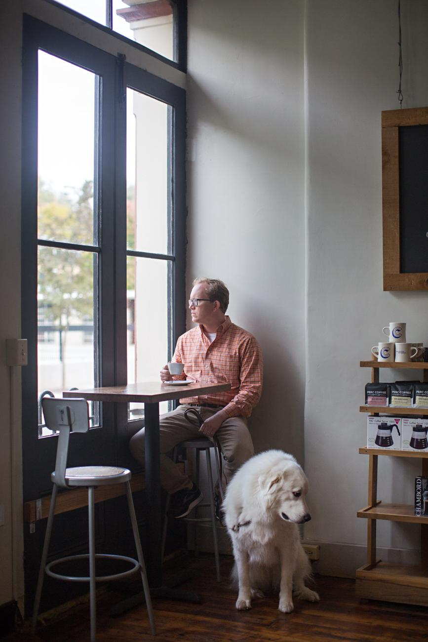 Blake Dowlin, owner of Collective Espresso, with Gertie, a Great Pyrenees / Image: Sarah Parisi Dowlin // Published: 11.7.18
