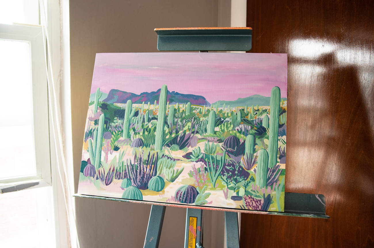 A painting of a Southwestern-inspired saguaro cactus dreamland / Image: Melissa Sliney // Published: 3.26.20  <br><p></p>
