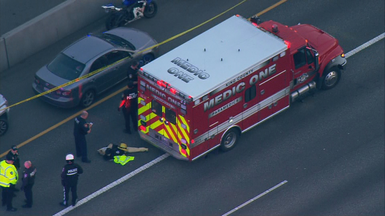 A man was killed in a road-rage incident on Interstate 5 in Milton, Wash. Thursday, Feb. 8, 2018. The woman motorcycle rider who fired the fatal shot was detained but later arrested. (Photo: KOMO News/Air 4)