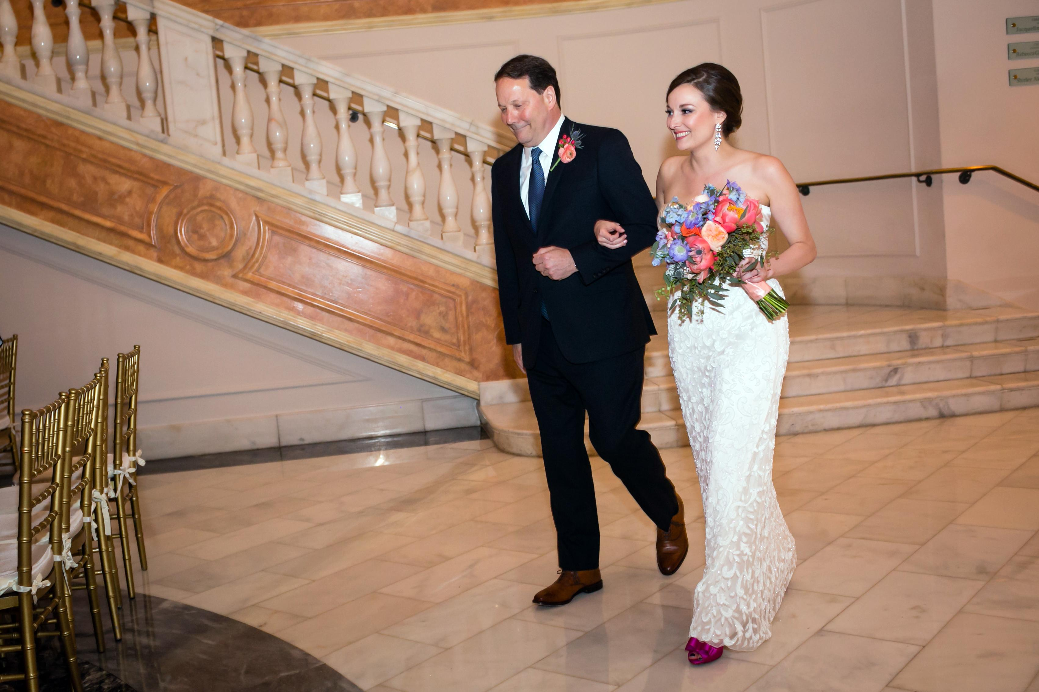 Amy & Ryan's Wedding Day // Venue: National Museum of Women in the Arts // Hair: Devon Baltimore (http://www.updospecialist.com/) // Makeup: Lauren Jaber, Real Doll Makeup (http://realdollmakeup.com/) // Florist: Flowers by Lisa (http://floraldesignsbylisa.com/) // Dress: Made custom by the bride's mother, Tricia Kurth. The beaded fabric was re purposed from a BHLDN gown, and the silk fabric was sourced by the bride's dad while he was on a business trip in China. // Photography: Amanda Giley (http://www.akgfoto.com/) // (Photo credit: Amanda Giley)