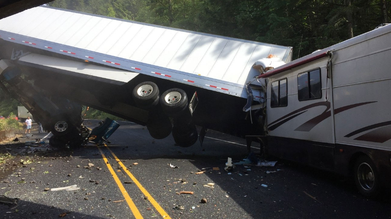 Oregon State Police says a semi-truck traveling westbound on Highway 58 struck an RV Tuesday afternoon. Photo courtesy Dan Nibblett