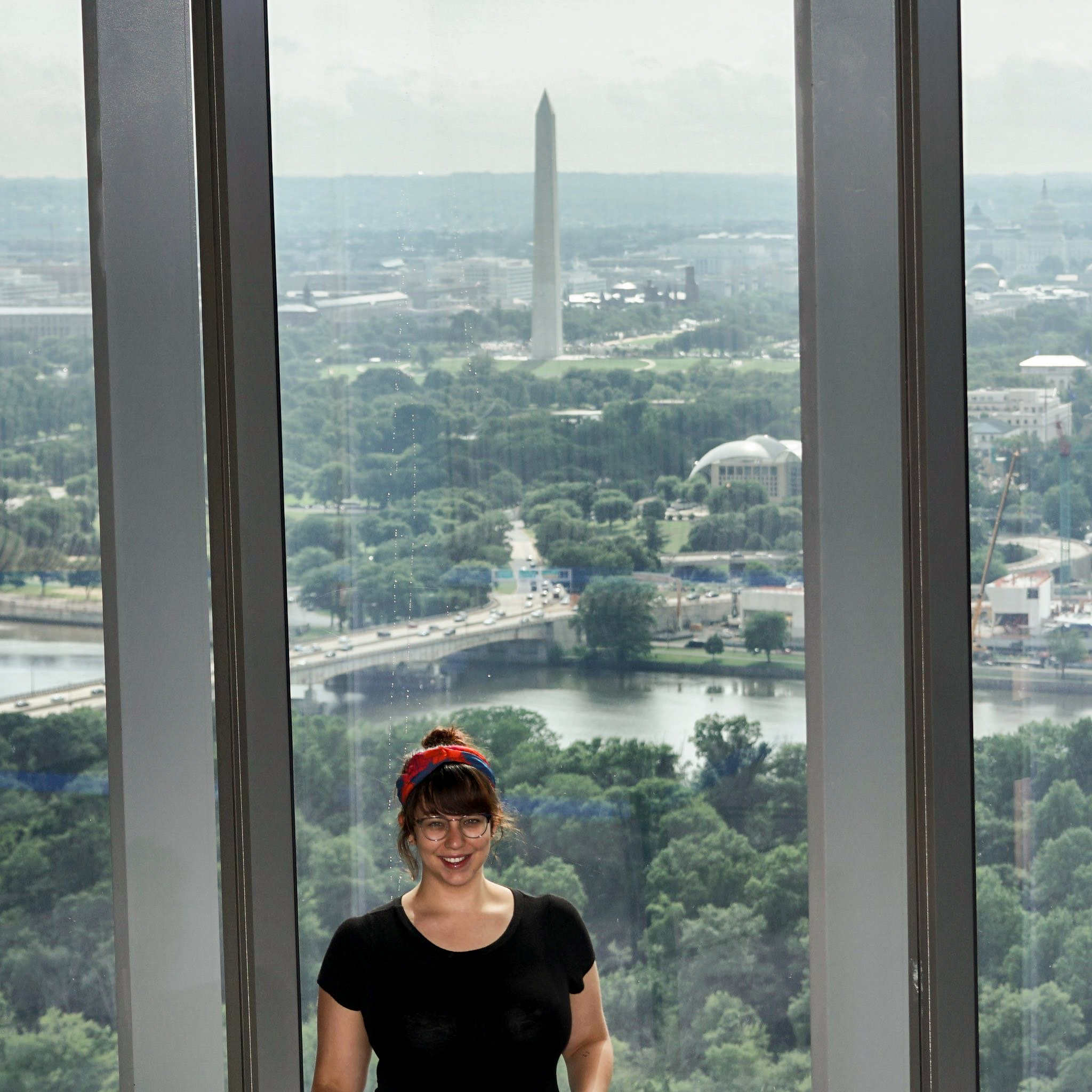 For the selfie challenged, you can scan a QR code at The Observation Deck and a camera mounted on the opposite wall will snap a pic for you and send it to your phone. (Image courtesy of The View of D.C.)<br>