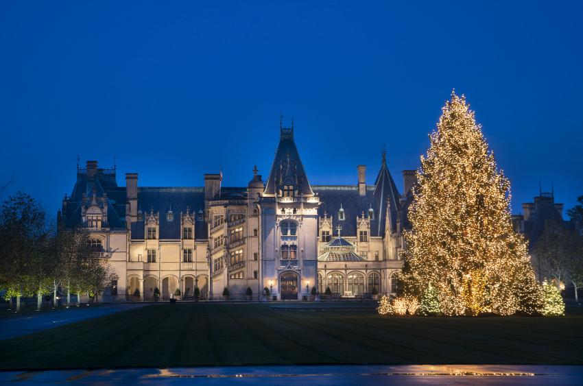 Biltmore facade during the Christmas season. (Photo Credit: The Biltmore Company)