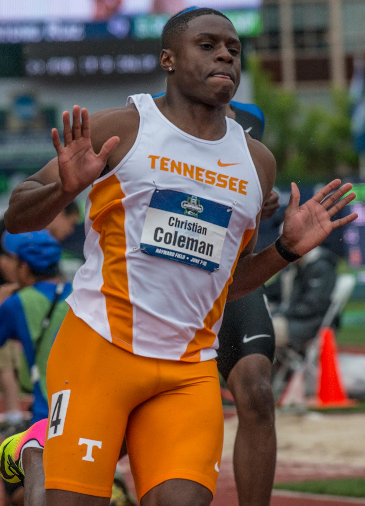 Christian Coleman, Tennessee, wins the 100m with at time of 9.82 in the semis on day one of the NCAA Division I Championships at Hayward Field. Photo by Rhianna Gelhart, Oregon News Lab