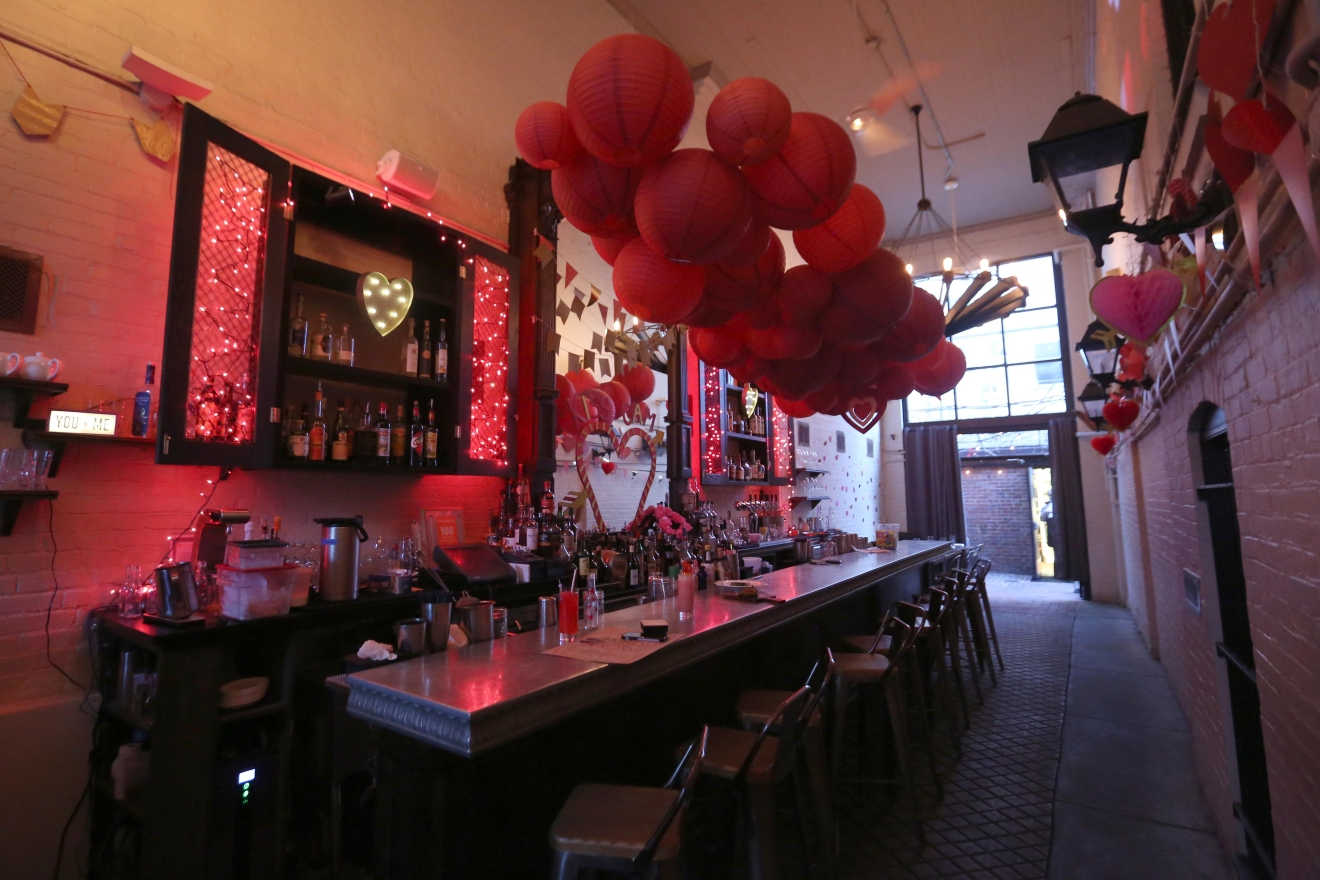 Iron Gate is already one of D.C.'s most romantic date spots - the intimate quarters and pretty garden make this Mediterranean restaurant and bar ideal for wooing. Still, that didn't stop them from upping the ante for Valentine's Day by creating special cocktails, updating the menu and decking the place out in pink and red. (Amanda Andrade-Rhoades/DC Refined)
