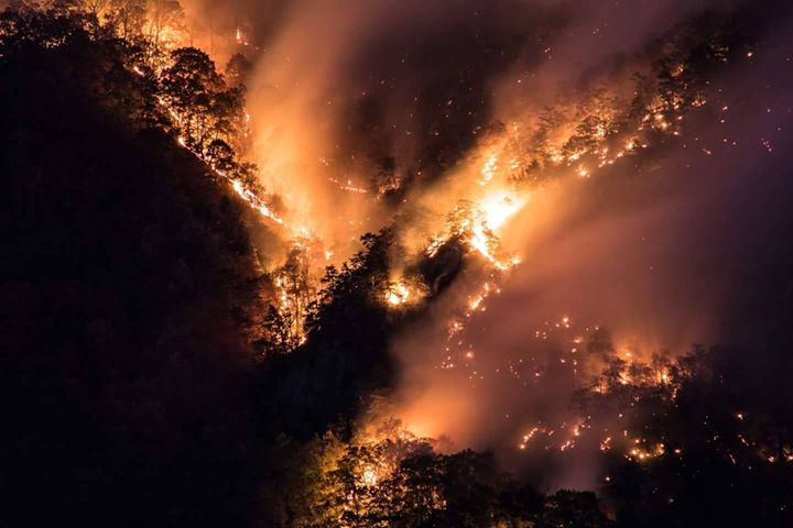 Viewer Michele Schwartz sent News 13 these photos of the Party Rock fire burning in Lake Lure. (Photo credit: Michele Schwartz)