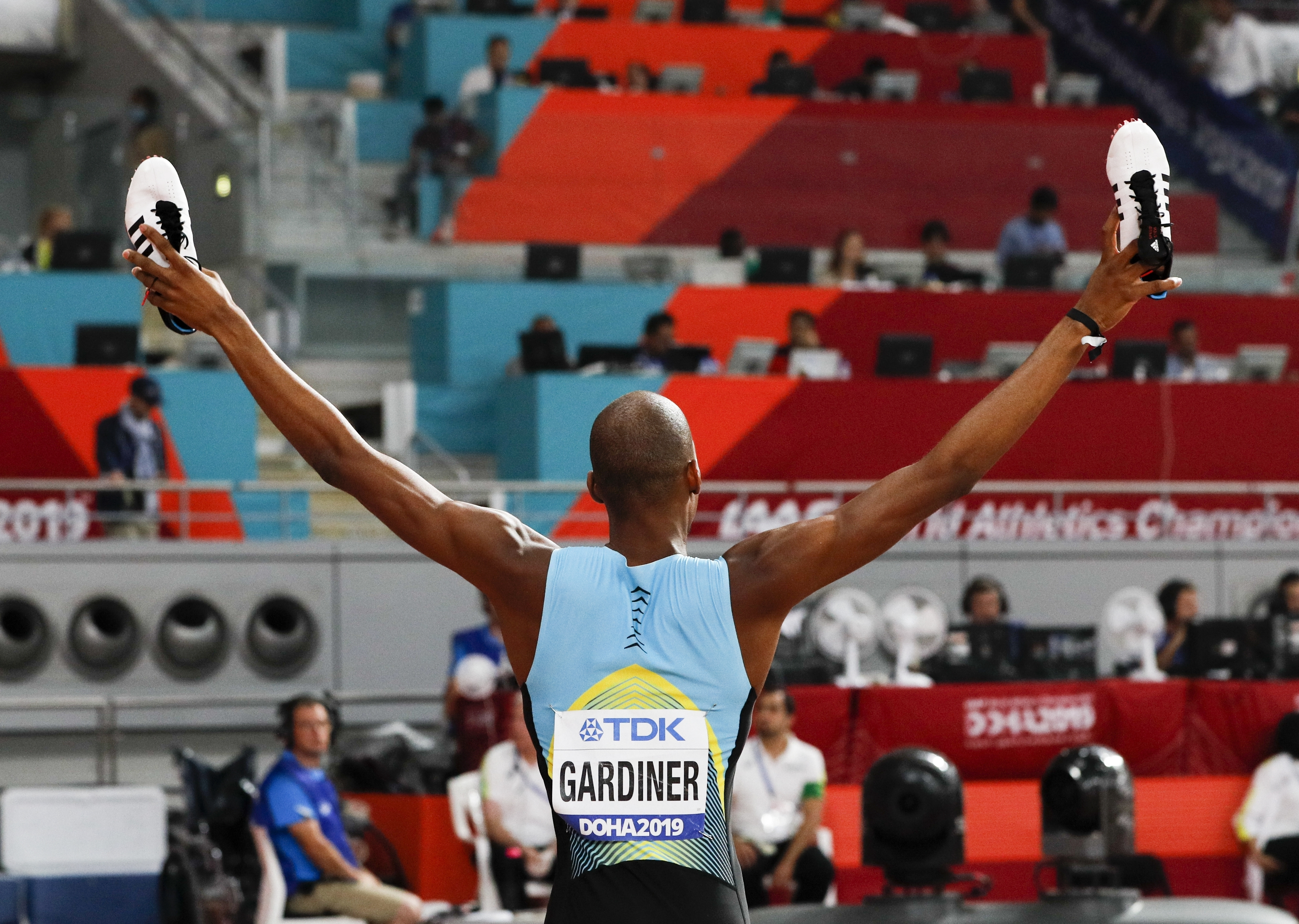 Steven Gardiner, of Bahamas, reacts after winning the men's 400 meter finals at the World Athletics Championships in Doha, Qatar, Friday, Oct. 4, 2019. (AP Photo/Hassan Ammar)