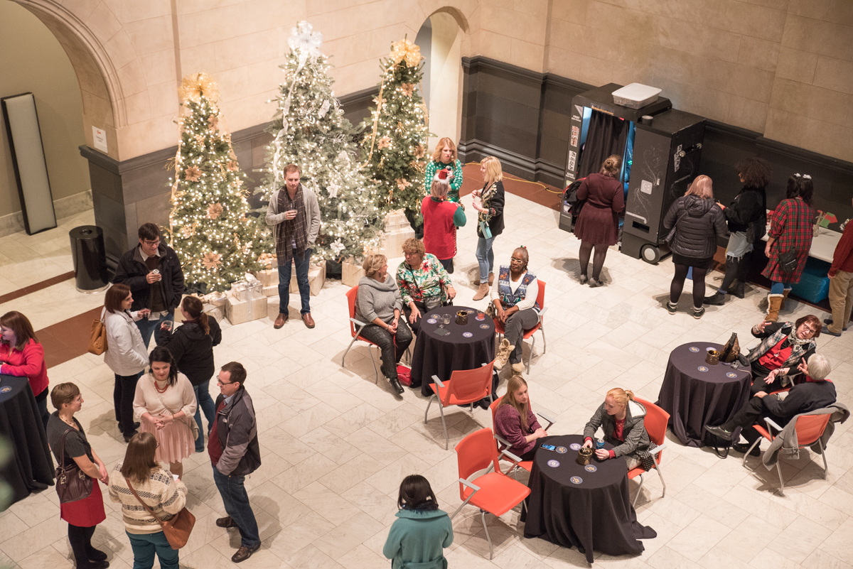 The Ugly Holiday Sweater Party was held on December 22, 2016, in the Great Hall of the Cincinnati Art Museum. The Young Professionals' Choral Collective of Cincinnati sang for the event, and all special exhibitions in the museum were free. ADDRESS: 953 Eden Park Dr, Cincinnati, OH 45202 / Image: Sherry Lachelle Photography // Published: 12.23.16