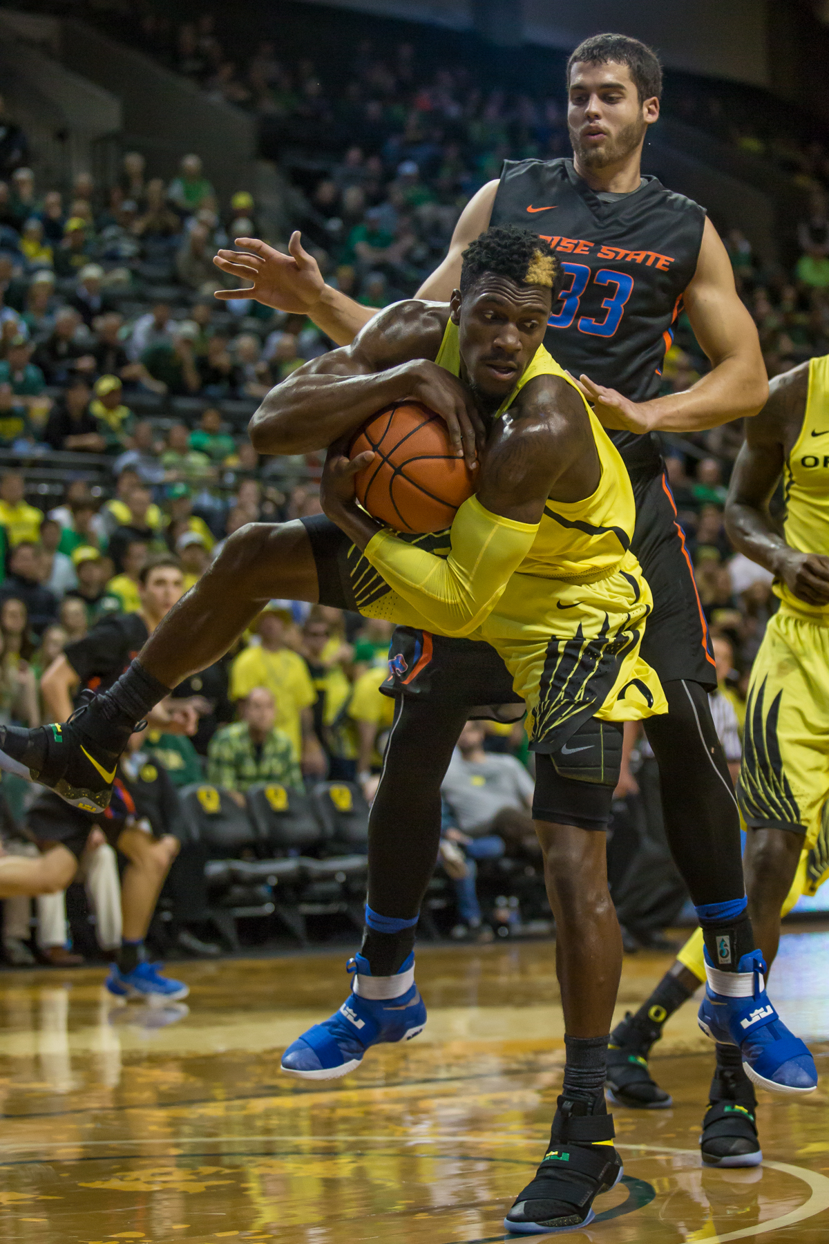 Oregon guard Dylan Ennis (#31) rips a ball down from the rim in front of Boise State forward David Wacker (#33). After trailing for most of the game, the Oregon Ducks defeated the Boise State Broncos 68-63. Photo by Dillon Vibes